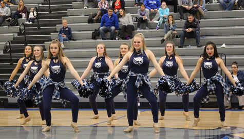 Dance team members (left to right) Delaney Johnston (10), Mikayla Forde (10), Molly Richardson (9), Katie Alstatt (9), Delaney Storm (9), Emma Plankers (11), Peyton Falen (10), and Sydney Bui (9) perform for the varsity basketball halftime show against Shawnee Mission Northwest.