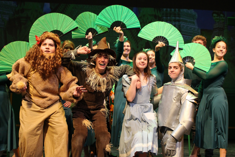 The main cast of Wizard of Oz, Brandon Heflin as the Lion, Weston Curnow as the Scarecrow, Kalista Brown as Dorothy, and Brennan Frye as the Tin Man, pose after their first song of the second act,