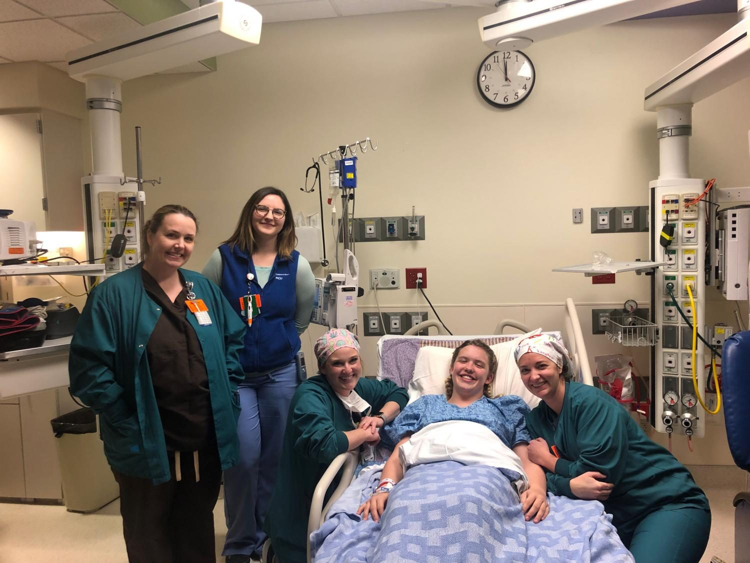 Olivia Eisenhauer with her Nurses directly before she went into transplant,