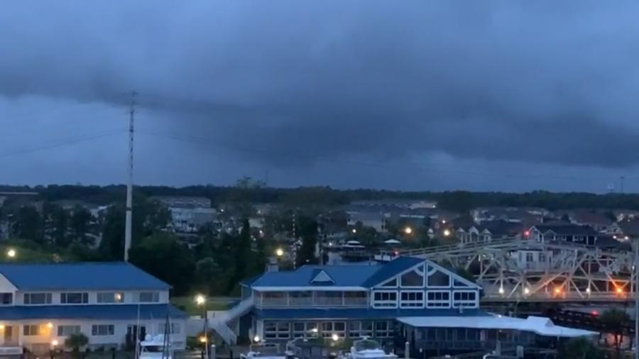 As tornadoes form overhead, Hurricane Dorian hits Myrtle beach.