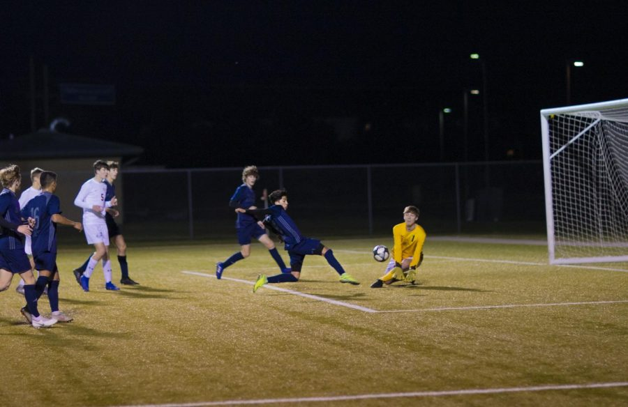 Senior Jony Munoz attempts a goal but was unsuccessful. He scored two goals by the end of the game.