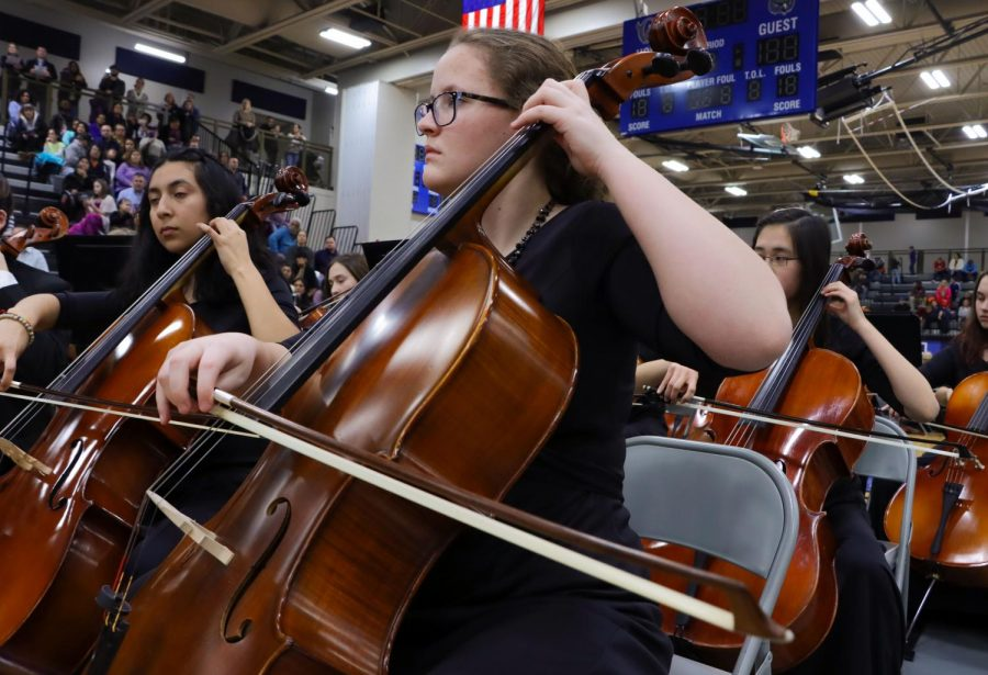 Senior+Megan+Riley+plays+the+cello+at+the+orchestra+concert+held+on+Tuesday%2C+Jan.+28.
