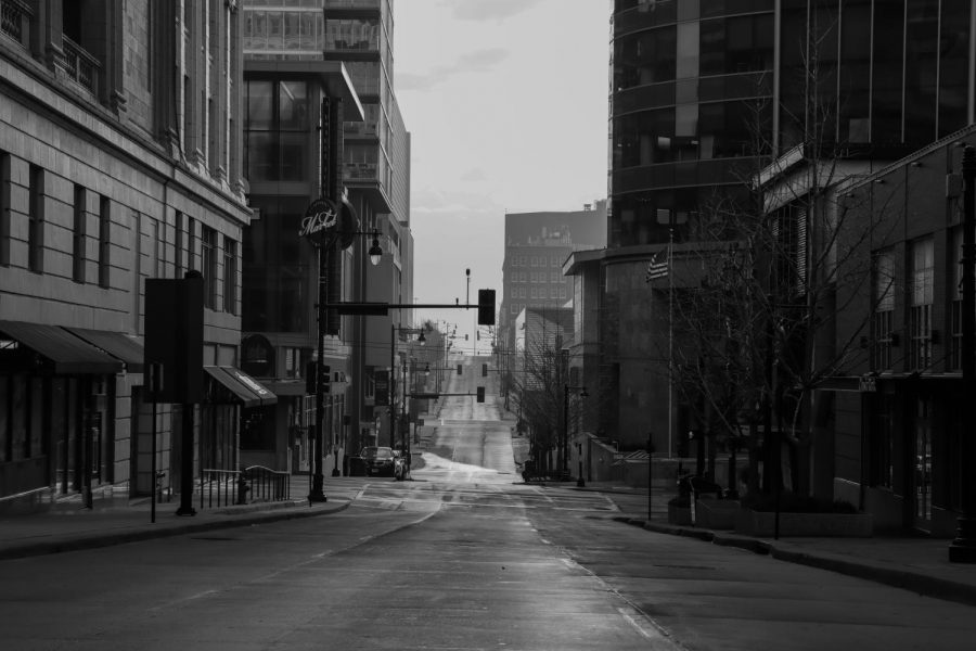 A street in downtown Kansas city goes bare as the stay-at-home order goes full into effect.