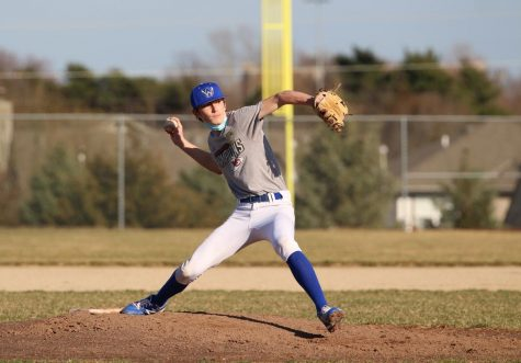 Peter Marshall pitches during the JV and C-team scrimmage.