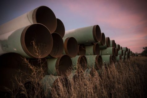 Unused pipe rom the Keystone XL pipeline that was supposed to run from Canada to the Gulf of Mexico.