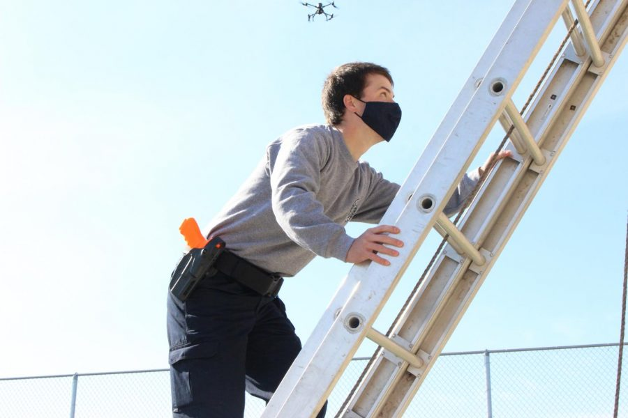 """Heights have always been a fear of mine, so I did not enjoy going up that ladder at all...but it had to be done in order to find evidence for the case."""" - senior Cade Smith"""