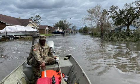 Louisiana National Guard helping rescue people and animals in the flooded LaPlace, Louisiana.