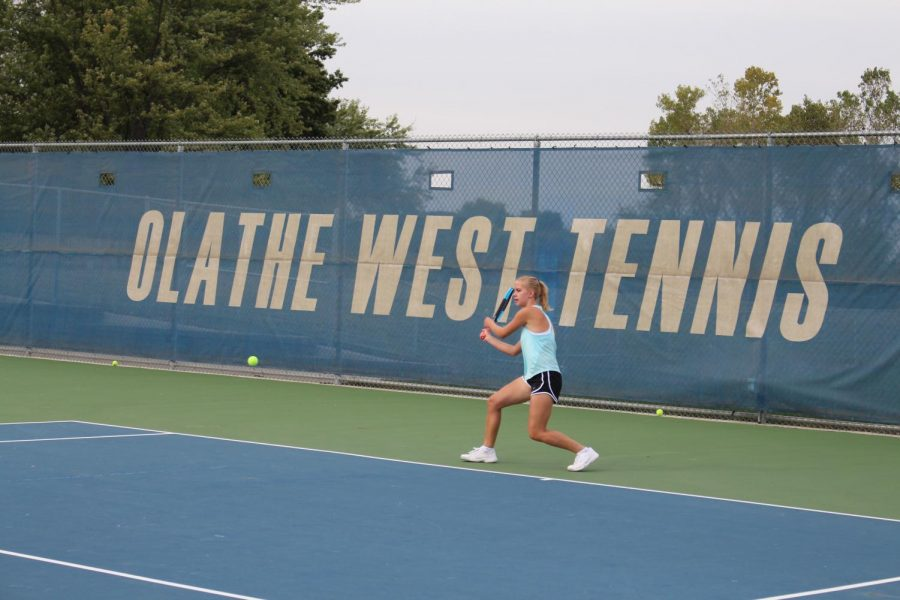 Senior Autumn Jones finishes one of the last practices before the State Championships in Wichita